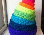 rainbow neon nesting bowls - set of 9
