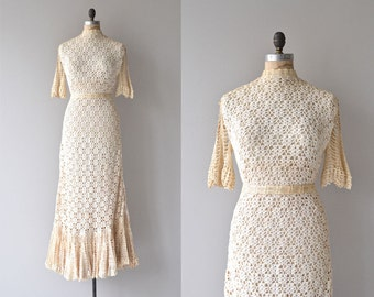 Rising Spirit wedding gown | vintage 1970s crochet dress • bohemian cotton crochet wedding dress