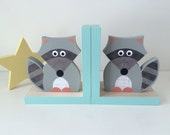 Raccoon Bookends, Aqua Blue Edges, Woodland Nursery, Woodland Kids Decor, Nursery Decor, Kids Decor, eco friendly