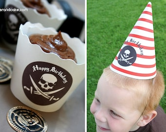 Pirate Birthday PRINTABLE Party Collection - You Customize EDITABLE TEXT >> Instant Download <<