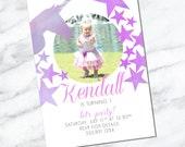 Unicorn Theme - I am ONE - Printable Birthday Girl Invitation - First Birthday Invitation - Turning 1 - Unicorn Star