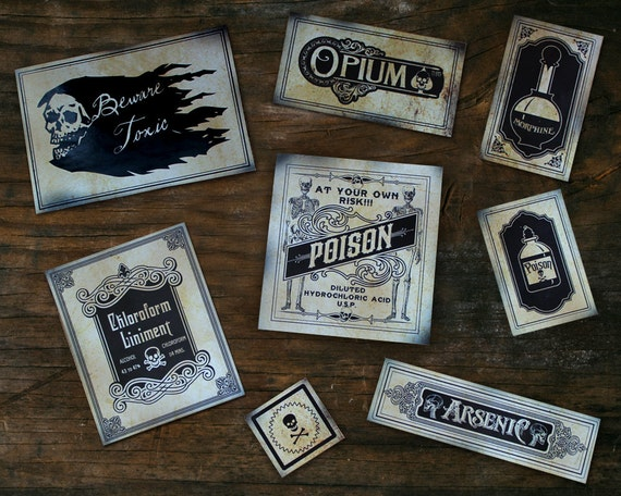Poison Stickers, Skeletons, Skull Medicine Bottles Apothecary Victorian Cabinets PART 1