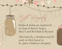 Diy Wedding Gift Registry : ... Wedding, Engagement Party, Bridal, Baby Shower InsertGift Registry