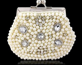 Pearl bridal handbag clutch wedding accessories