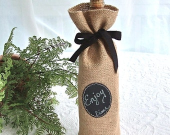 JULY Shipping! Burlap Wine Bottle Bags -- Sets of 24 or more  with Re-Useable Chalkboard Label for Decorating or Gifting