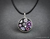 Abstract Millefiori Mosaic - Wearable Art - Pendant Necklace