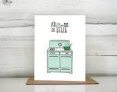 Illustrated vintage stove blank greeting card