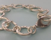 TEXTURED Sterling Silver THICK Eternity Ring Bracelet 7-8 inches