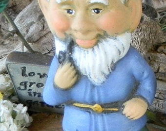 GARDEN GNOME Vintage Style with pipe in hand -  hand made ceramic gnomes