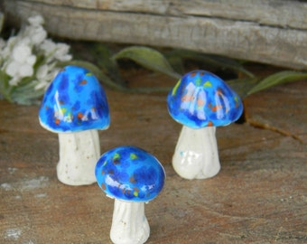Garden Mushrooms Ceramic Stakes Miniature 3  blue crystal  Stakes Hand Sculpted .Ceramic glazed statues fairy gnome decor agaric  amanita