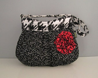 SALE - Small Shoulder Bag handmade in black and white with pink ruffle flower embellishment