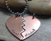 Couples Necklaces in Copper, with custom wording or quote of your choice, Best friends Necklaces in Copper