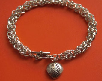 Woodland Princess -- Sterling Silver Byzantine Bracelet With Leaf-Stamped Hill Tribe Heart Charm