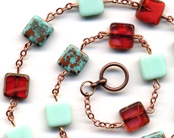 Aqua Teal turquoise Mint Coral Romance Rare Czech Glass Necklace, Cooper Chain Last one OOAK Necklace - handmade jewelry by AnnaArt72