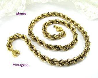 Necklace Monet Gold tone Rope 24 inch