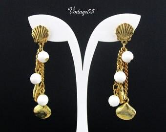 Earrings Sea Shell Charm Beads Gold tone Pierced Post