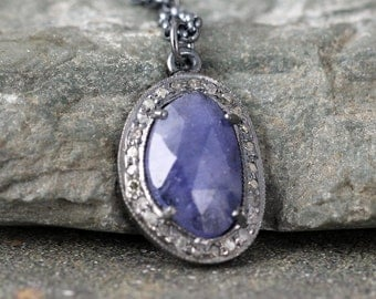 Tanzanite and Raw Diamond Necklace - Sterling Silver - Halo Pendant - Rustic Jewellery - December Birthstone
