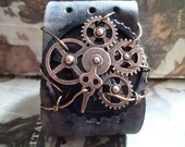 Antique Copper & Black Mixed Gear Steampunk Wire Wrap Leather Cuff Adjustable