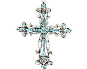 Large Cross Pendant - Teal/Aqua Rhinestone - #PND128