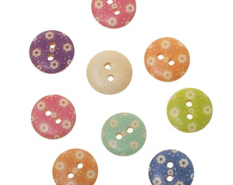 BULK - Wood Button Mix - Flower Pattern - 15mm Round - set of 200 - #BUTTON206B