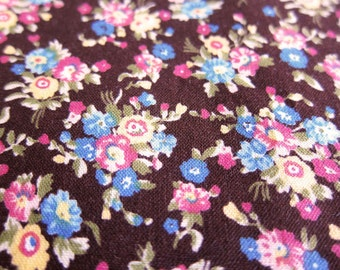 FREE SHIPPING Japanese Floral Print Fabric - Country Floral Fabric in Brown (F059) Fat Quarter