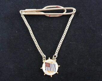 U.S. Power Squadron Tie Clip with Chain & Pendant- Vintage Tie Clip, Golden Metal Enamel- Boating Boat, Men's Tie Tack- Men's Jewelry
