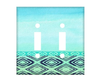 Tribal Switchplate Cover  - Blue Green Mint Navy - Switchplate - Light Switch Cover - Aztec Design - Western