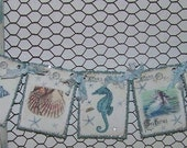 Summer Beach Banner Garland Vintage Shabby Cottage Chic Banner Garland