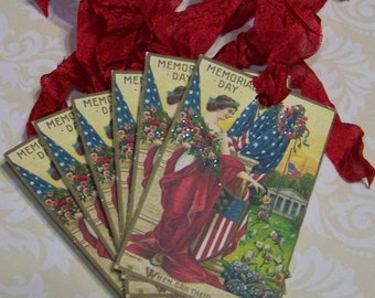 Memorial Day Tags Vintage Style Patriotic Tags Set of 6 or 9