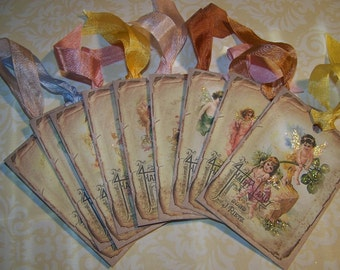 Fairy Tags Vintage Style Fairy Party Tags Woodland Wedding Fairy Wish Tags Set of 9
