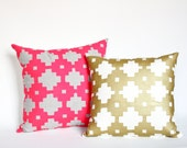 Gold Pillow Gold Home Decor Hand Printed Gold Accent Cushion Printed by Earth Cadets Organic Geometric Design Made by Hand in Chicago