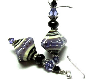 Purple Earrings Unique Earrings Glass Bead Earrings Lampwork Earrings Artisan Earrings Beaded Earrings Glass Earrings Dangle Earrings
