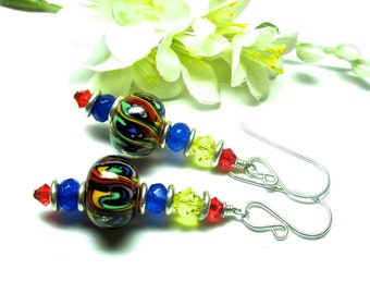 Rainbow Earrings Colorful Earrings Lampwork Earrings Glass Earrings Artisan Earrings Dangle Earrings Beaded Earrings