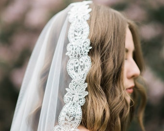 Mantilla Veil- Spanish Lace Fingertip Length Bridal Veil- Style: Flora- Ready to Ship