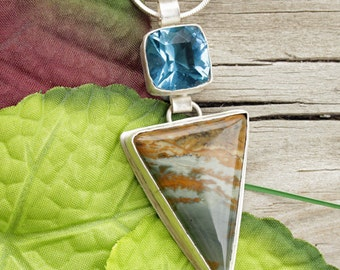 Oregon Owyhee - Owyhee Jasper - Blue Topaz Quartz - Jasper Jewelry - Jasper Necklace - Oregon Jewelry - Blue Stone - Stone Jewelry - Topaz