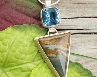Oregon Owyhee - Owyhee Jasper - Blue Topaz - Fused Quartz - Jasper Jewelry - Jasper Necklace - Oregon Jewelry - Blue Stone - Stone Jewelry