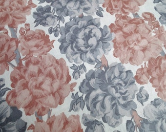 Vintage Fabric Floral Cotton 1940s 1950s Grey Brown Flowers White Background 40s 50s - 2 1/2 yards - over 2 metres -  new old stock unused