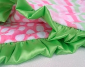 Hot Pink and Green Chevron and Polka Dots Minky Blanket