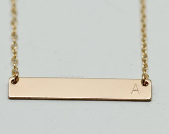 Gold bar necklace - initial necklace - dainty gold necklace - delicate gold necklace - initial jewelry - engraved necklace - personalized