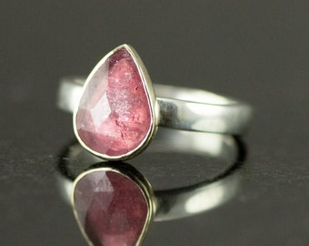 Rose Cut Sapphire Ring - 14k Gold and Sterling Ring - Rose Pink Sapphire Ring