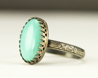 Boho Turquoise Stack Ring - Sterling Turqoise Ring on Flower Band