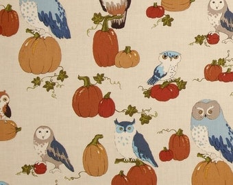 """October Owls Alexander Henry Fabric 2 Yards x 44"""" Pumpkins Fall Holiday Harvest Cotton Quilting Yardage Brown Orange Blue"""