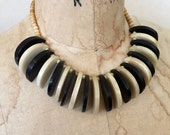Vintage BLACK & WHITE Art Deco Beaded BONE and Wood Choker Necklace Avant Garde Statement Necklace