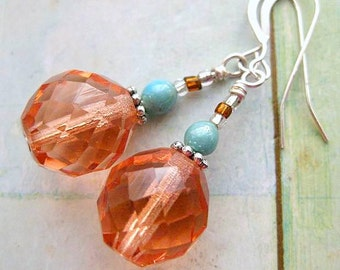 Champagne Pink & Aqua Earrings. Summer Party