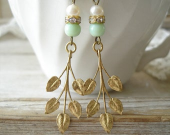 Leaf Earrings. Vintage Assemblage Earrings. Jadeite Green and Pearl Beaded Earrings Published in Jewelry Affaire Magazine. PreciousPastimes.