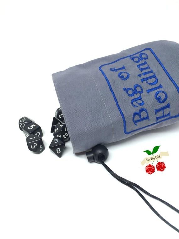 blue bag of holding dice bag dice holder d d embroidered