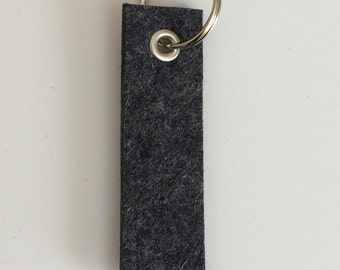 Wool Felt Key Fob : Heather Charcoal