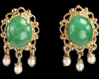 Vintage 14k Apple JADE, Pearl Earrings - Screwback - excellent condition