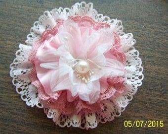 Pink & White Fabric Flower