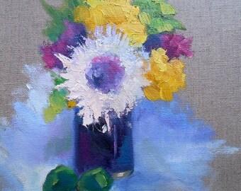 """Floral Still Life, Small Flower Still Life, """"Mary's Vase"""" , 9x12"""" Oil Painting"""